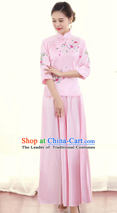 Chinese Ancient Wedding Costume Traditional Pink Dress, China Ancient Bride Toast Clothing Embroidered Xiuhe Suits for Women