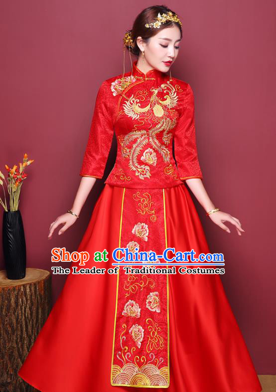 Chinese Ancient Wedding Costume Bride Dress, China Traditional Toast Clothing Delicate Embroidered Xiuhe Suits for Women