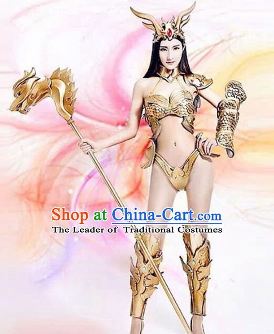 Top Grade Stage Performance Golden Costumes Halloween Cosplay Modern Fancywork Clothing and Headwear for Women