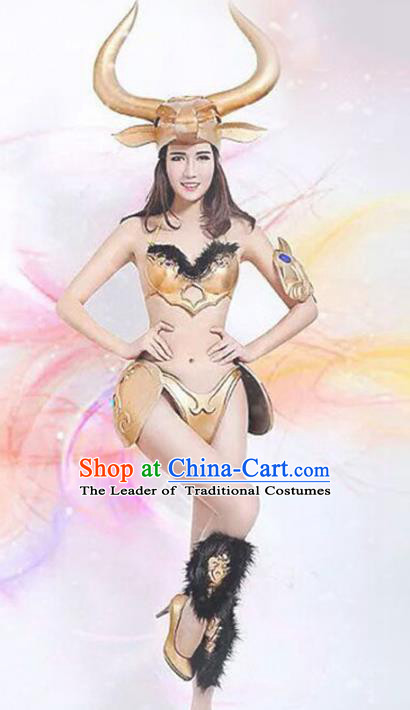 Top Grade Stage Performance Sexy Costumes Halloween Cosplay Modern Fancywork Clothing and Headwear for Women