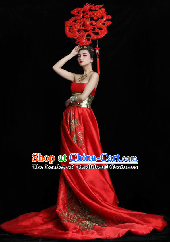 Top Grade Stage Performance Costumes China Style Modern Fancywork Full Dress and Headwear for Women