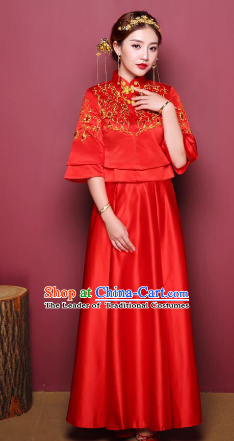 Chinese Ancient Wedding Costume Bride Toast Clothing, China Traditional Delicate Embroidered Red Dress Xiuhe Suits for Women