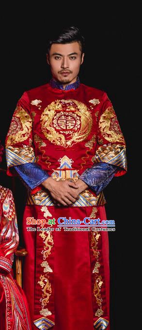 Chinese Traditional Embroidery Wedding Costume China Ancient Bridegroom Tang Suit Embroidered Clothing for Men