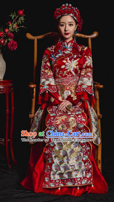 Chinese Traditional Embroidered Xiuhe Suits Ancient Bride Wedding Costumes for Women