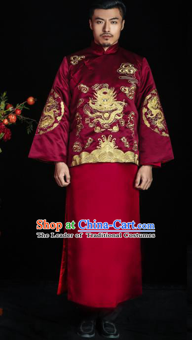 Chinese Traditional Wedding Costume China Ancient Bridegroom Tang Suit Wine Red Gown for Men