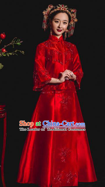 Chinese Traditional Toast Xiuhe Suits Ancient Bride Embroidered Red Tassel Bottom Drawer Wedding Costumes for Women