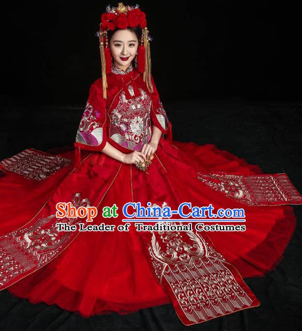 Chinese Traditional Toast Clothing Embroidered Xiuhe Suits Ancient Bride Bottom Drawer Wedding Costumes for Women