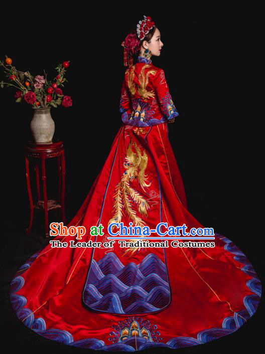 Chinese Ancient Wedding Costume Bride Trailing Embroidery Toast Clothing, Traditional Delicate Embroidered Red Xiuhe Suits for Women