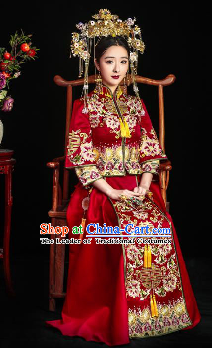 Chinese Ancient Bride Wedding Costume Embroidery Toast Clothing, Traditional Delicate Embroidered Red Xiuhe Suits for Women