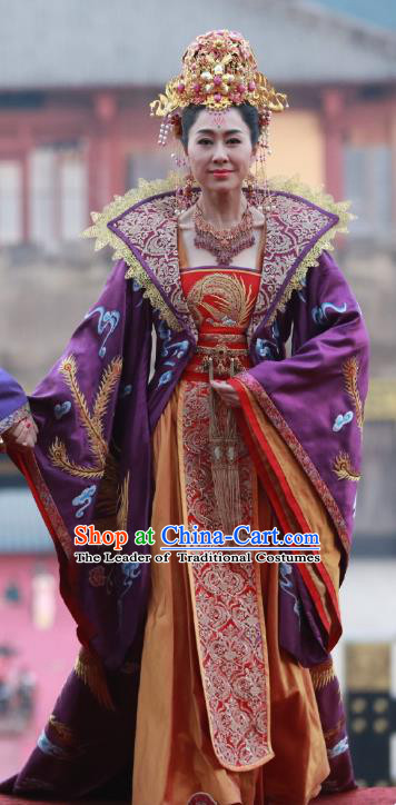 Chinese Ancient Palace Queen Trailing Hanfu Dress Tang Dynasty Imperial Empress Wang Embroidered Costumes and Headpiece for Women