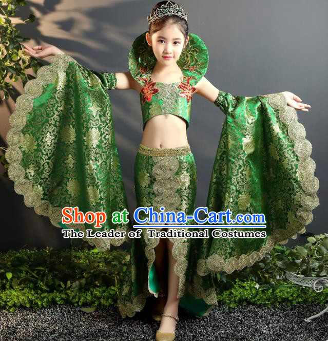 Children Stage Performance Costumes China Style Modern Fancywork Green Full Dress for Kids