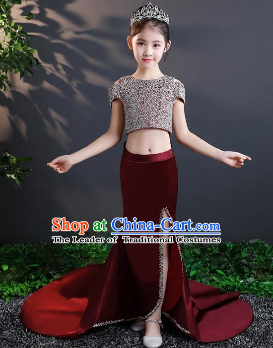 Children Stage Performance Costumes Trailing Dress Modern Fancywork Full Dress for Kids