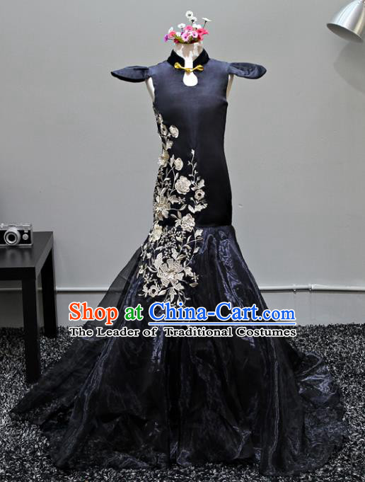 Children Stage Performance Costumes Black Embroidered Cheongsam Modern Fancywork Trailing Full Dress for Kids