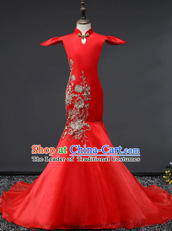 Children Stage Performance Costumes Red Embroidered Cheongsam Modern Fancywork Trailing Full Dress for Kids