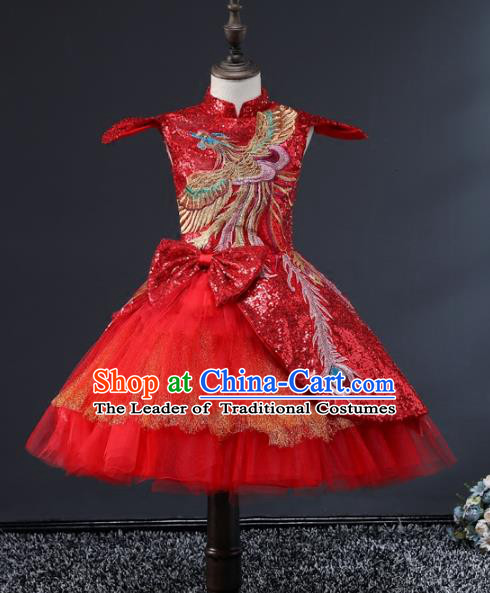 Children Stage Performance Costumes Embroidered Red Cheongsam Modern Fancywork Full Dress for Kids