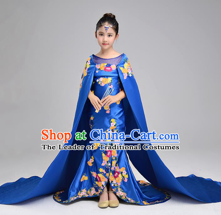 Children Stage Performance Costumes Blue Embroidered Evening Dresses Modern Fancywork Full Dress for Kids