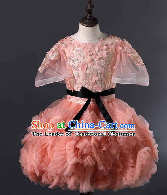 Children Stage Performance Costumes Pink Bubble Evening Dresses Modern Fancywork Full Dress for Kids