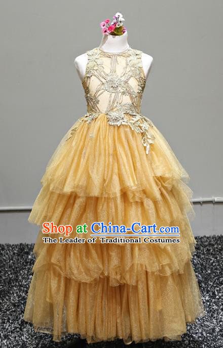 Top Grade Stage Performance Costumes Yellow Bubble Dress Modern Fancywork Full Dress for Kids