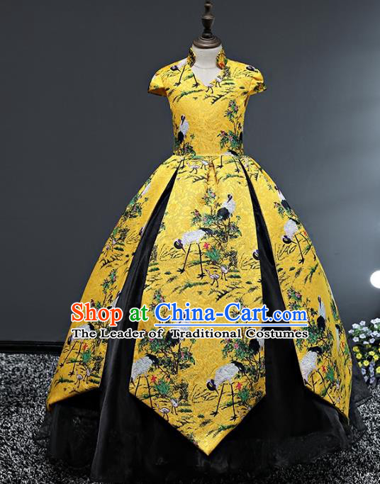 Top Grade Stage Performance Costumes Printing Cranes Bubble Dress Modern Fancywork Full Dress for Kids