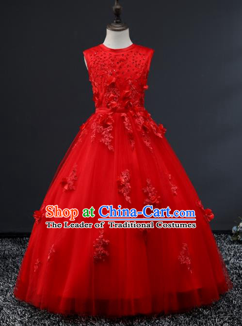 Top Grade Stage Performance Costumes Compere Red Bubble Dress Modern Fancywork Full Dress for Kids