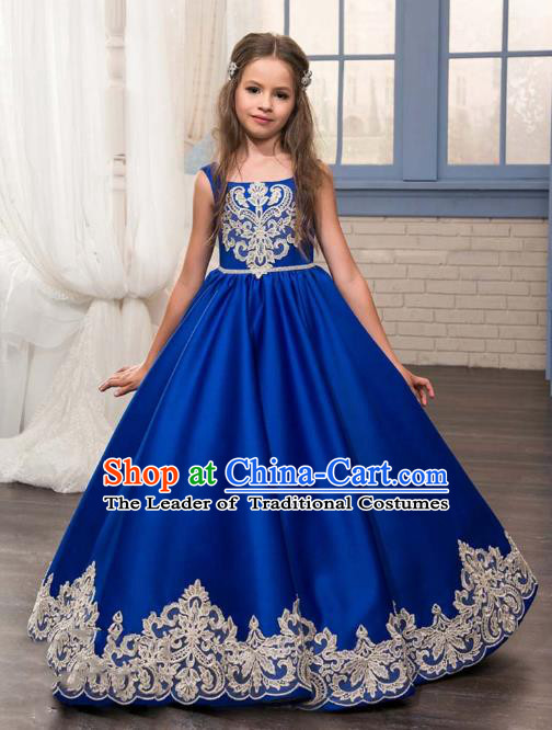Top Grade Stage Performance Costumes Compere Royalblue Bubble Dress Modern Fancywork Full Dress for Kids