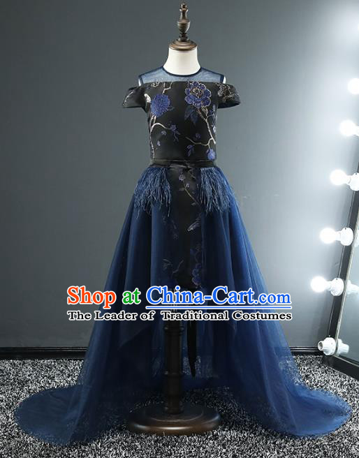 Top Grade Stage Performance Costumes Compere Black Dress Modern Fancywork Full Dress for Kids