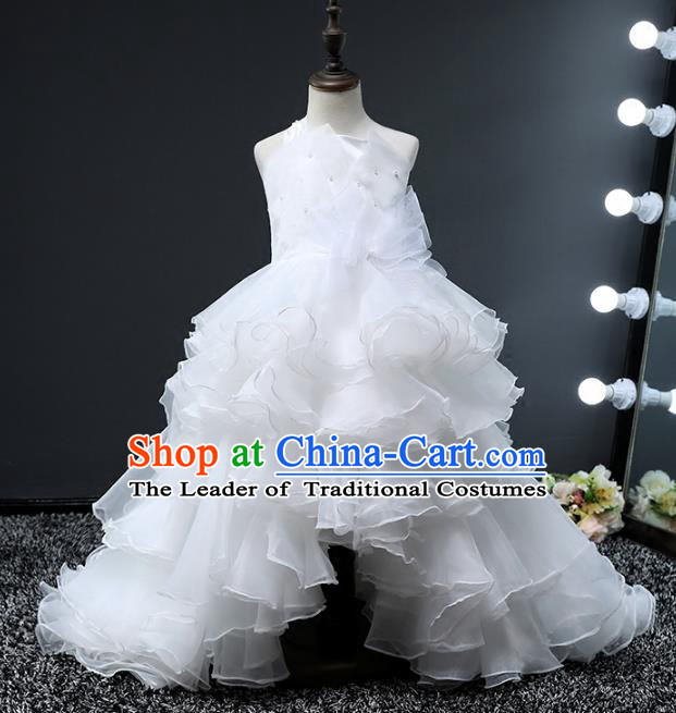 Top Grade Stage Performance Costumes Compere White Bubble Dress Modern Fancywork Full Dress for Kids
