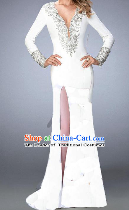 Top Grade Stage Performance Costumes Catwalks White Backless Dress Modern Fancywork Full Dress for Kids