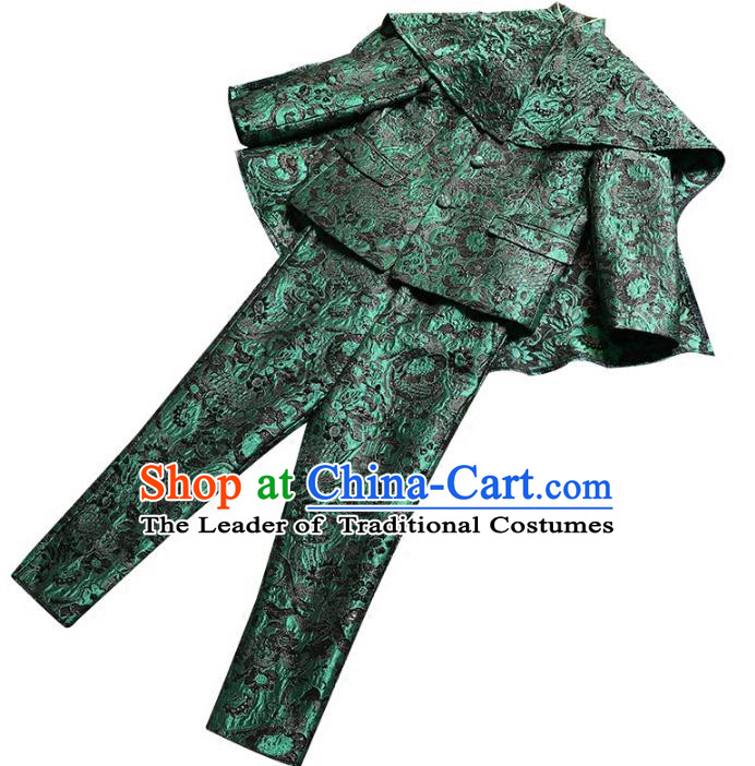Top Grade Stage Performance Costumes Children Compere Green Suits Modern Fancywork Clothing for Kids