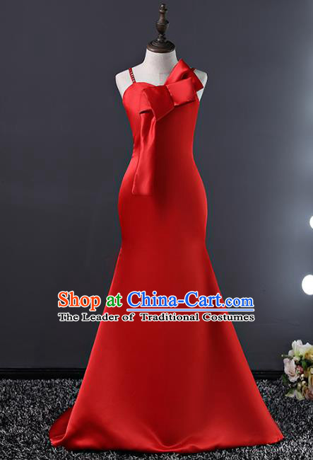 Top Grade Compere Costumes Children Stage Performance Red Trailing Dress Modern Fancywork Full Dress for Kids