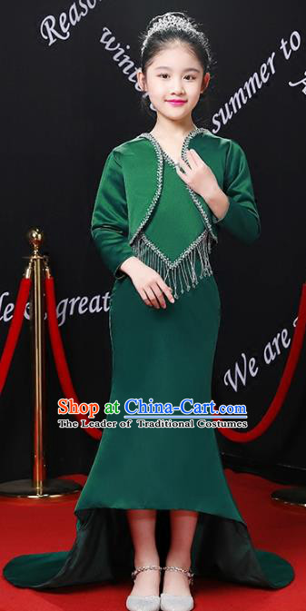 Top Grade Compere Costumes Children Stage Performance Green Trailing Dress Modern Fancywork Full Dress for Kids