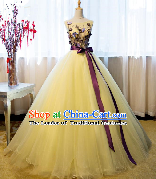 Top Grade Advanced Customization Yellow Veil Dress Wedding Dress Compere Bridal Full Dress for Women