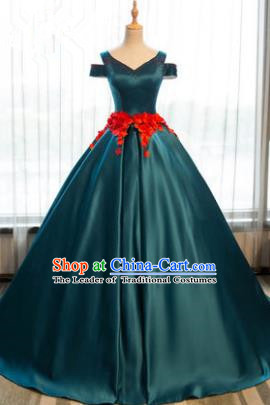 Top Grade Advanced Customization Peacock Green Satin Dress Wedding Dress Compere Bridal Full Dress for Women
