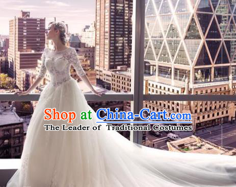 Top Grade Advanced Customization White Veil Mullet Dress Wedding Dress Compere Bridal Full Dress for Women
