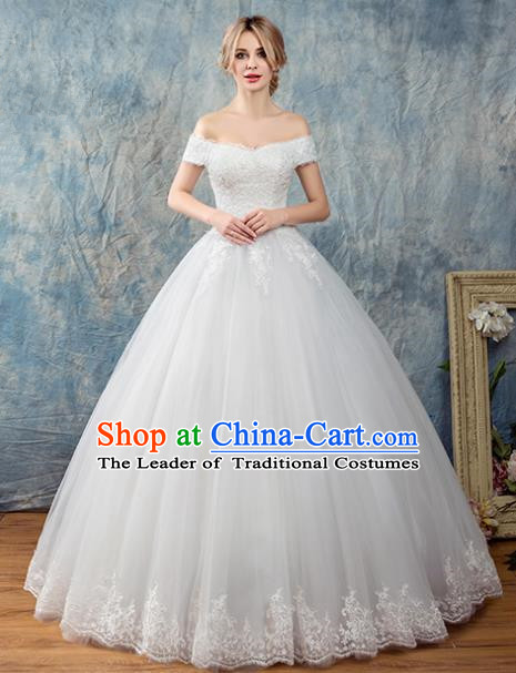 Top Grade Advanced Customization Flat Shouders White Veil Bubble Dress Wedding Dress Compere Bridal Full Dress for Women