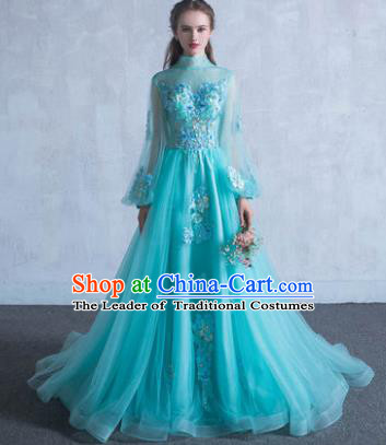 Top Grade Advanced Customization Green Veil Mullet Dress Wedding Dress Compere Bridal Full Dress for Women