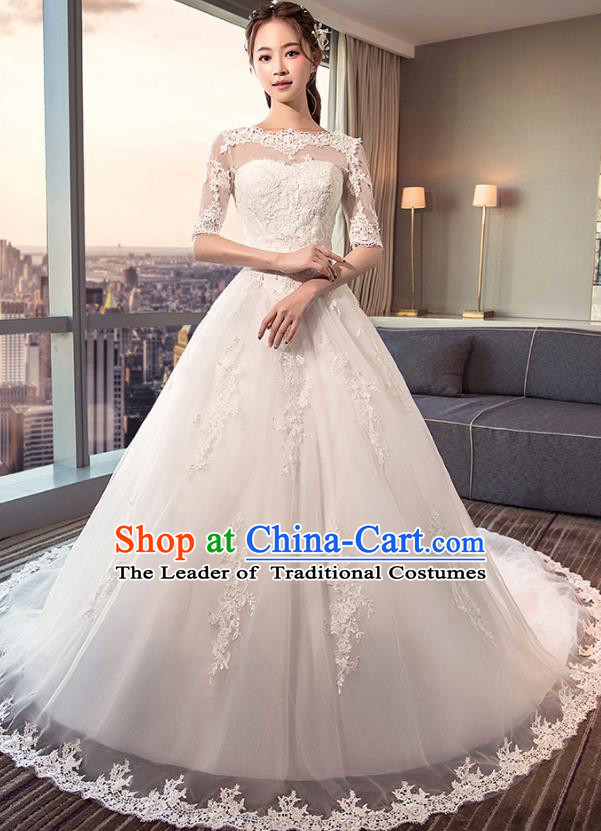 Top Grade Advanced Customization White Trailing Veil Dress Wedding Dress Compere Bridal Full Dress for Women