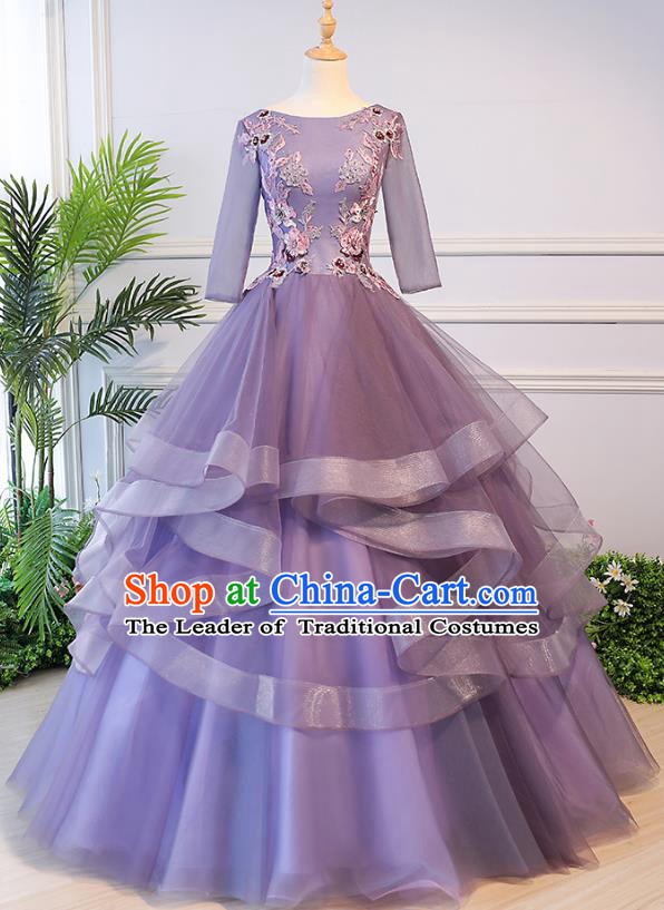 Top Grade Advanced Customization Evening Dress Purple Veil Wedding Dress Compere Bridal Full Dress for Women