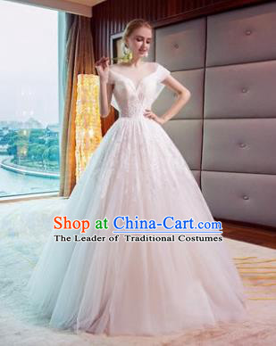 Top Grade Evening Dress Advanced Customization White Veil Wedding Dress Compere Bridal Full Dress for Women