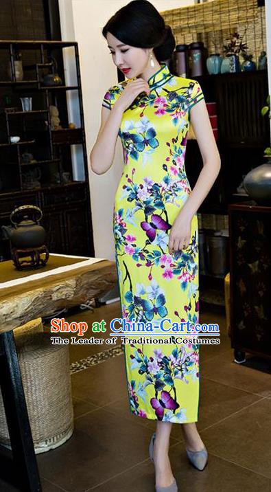 Top Grade Chinese Printing Butterfly Flowers Yellow Silk Qipao Dress National Costume Traditional Mandarin Cheongsam for Women