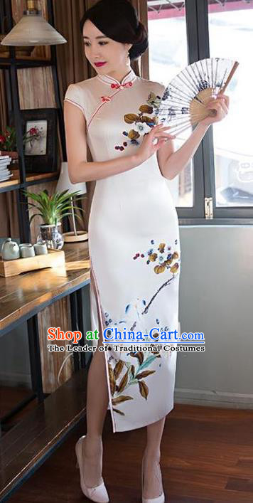 Top Grade Chinese Printing White Silk Qipao Dress National Costume Traditional Mandarin Cheongsam for Women