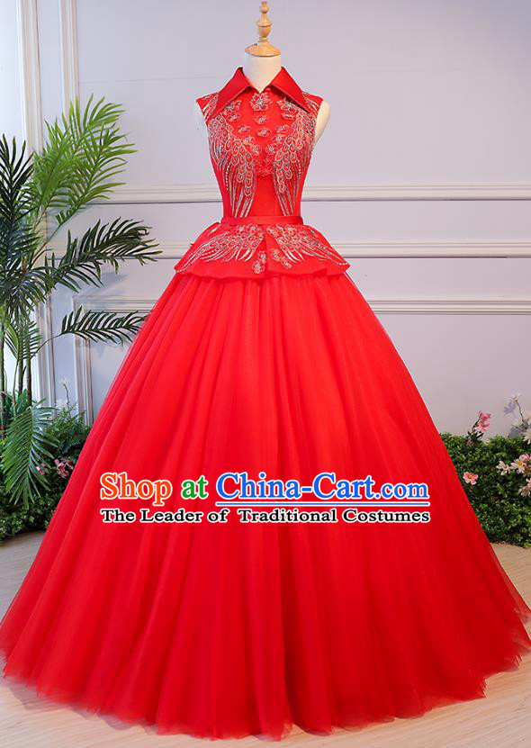 Top Grade Wedding Costume Compere Evening Dress Red Veil Bubble Dress Bridal Full Dress for Women