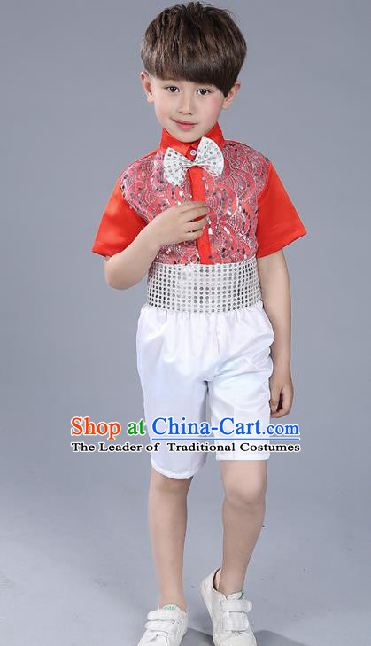 Top Grade Boys Chorus Sequins Costumes Children Compere Modern Dance Red Clothing for Kids