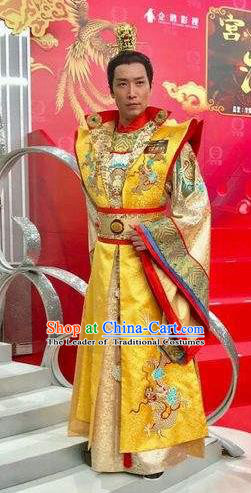 Chinese Tang Dynasty Monarch Li longji Dragon Robe Ancient Emperor Embroidered Costumes for Men