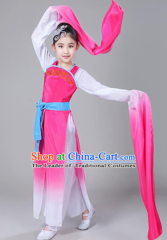 Chinese Traditional Folk Dance Costumes Children Classical Dance Yangko Water Sleeve Rosy Clothing for Kids