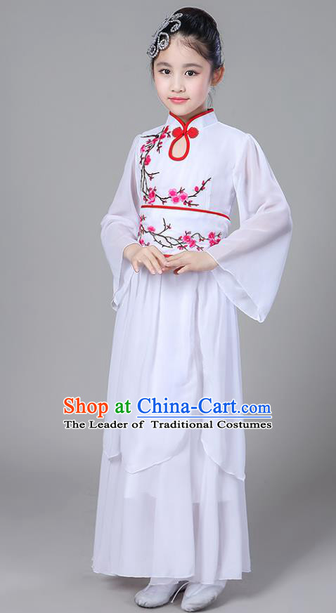 Chinese Traditional Folk Dance Costumes Children Classical Dance Embroidered Red Plum Blossom Clothing for Kids