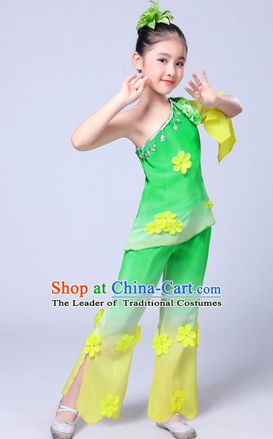 Chinese Traditional Folk Dance Costumes Children Classical Dance Jasmine Flower Green Clothing for Kids