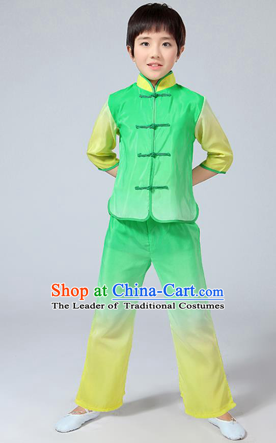 Chinese Traditional Folk Dance Costumes Children Classical Dance Tang Suit Green Clothing for Kids
