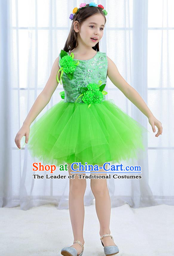 Top Grade Chorus Stage Performance Costumes Green Flower Bubble Dress Children Modern Dance Clothing for Kids