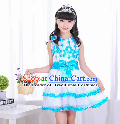 Top Grade Chorus Costumes Stage Performance Blue Bubble Dress Children Modern Dance Clothing for Kids